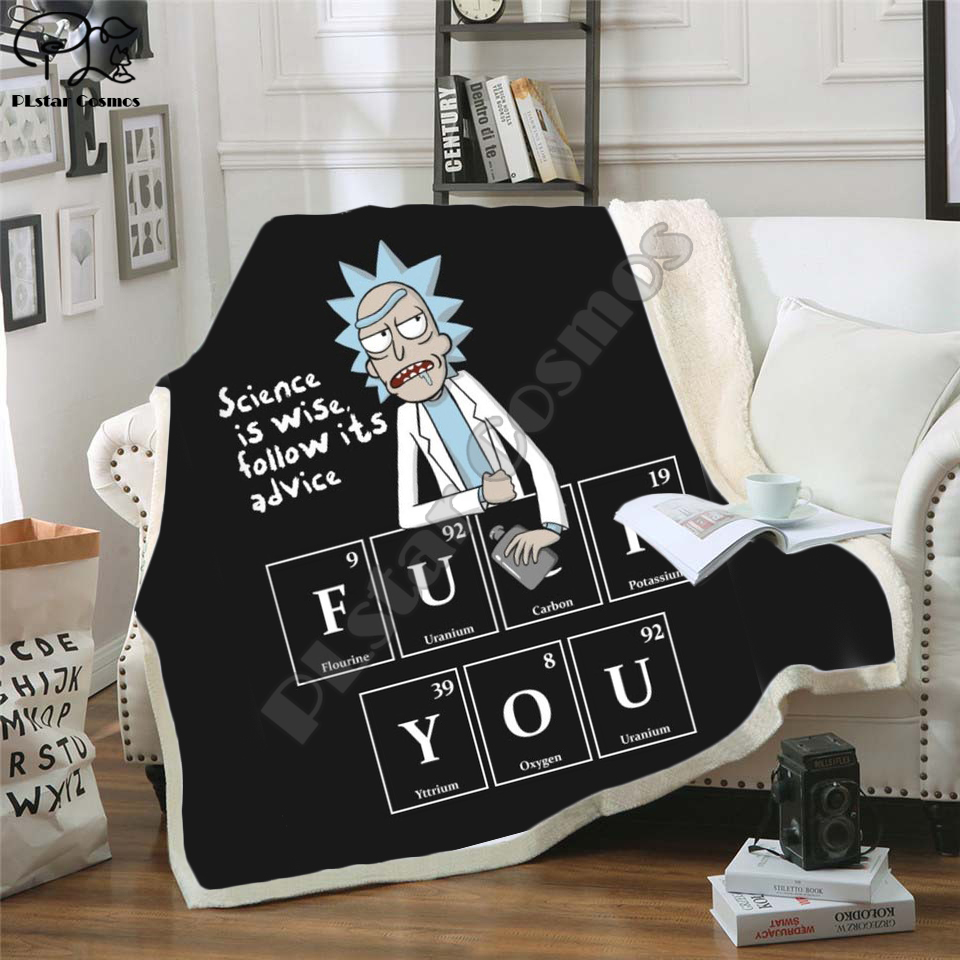 Plstar Cosmos Cartoon Rick And Morty  Funny Character Blanket 3D Print Sherpa Blanket On Bed Home Textiles Dreamlike Style-9