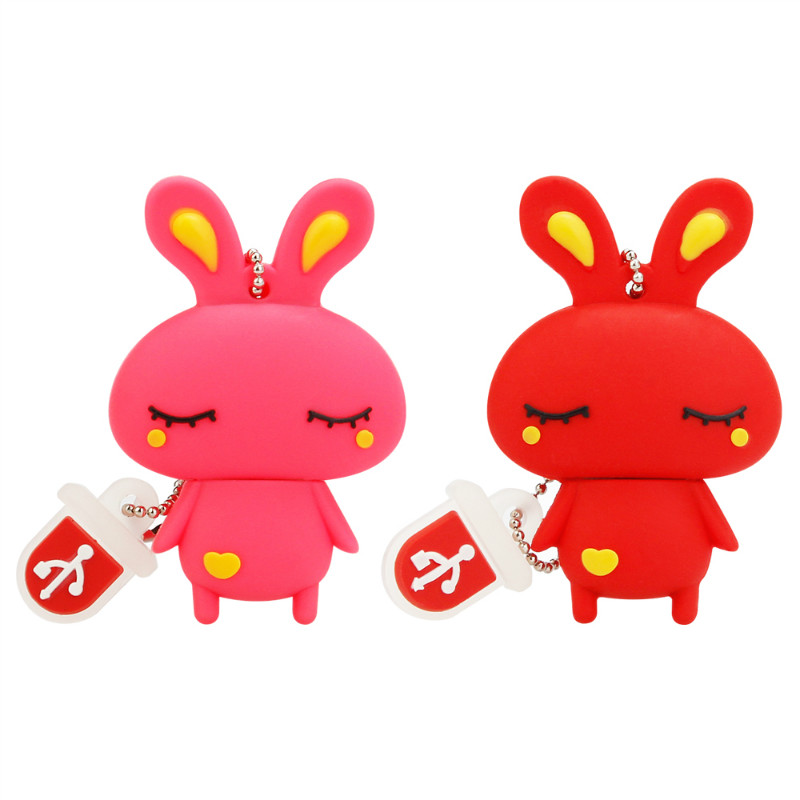 Usb Flash Drive 4GB 8GB 16GB 32GB Cute Mini Pink Rabbit Cartoon Animal Pendrive High Quality Silicone Usb2.0 Pen Drive Best Gift-in USB Flash Drives from Computer & Office