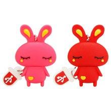 Usb Flash Drive 4GB 8GB 16GB 32GB Cute Mini Pink Rabbit Cartoon Animal Pendrive High Quality Silicone Usb2.0 Pen Best Gift