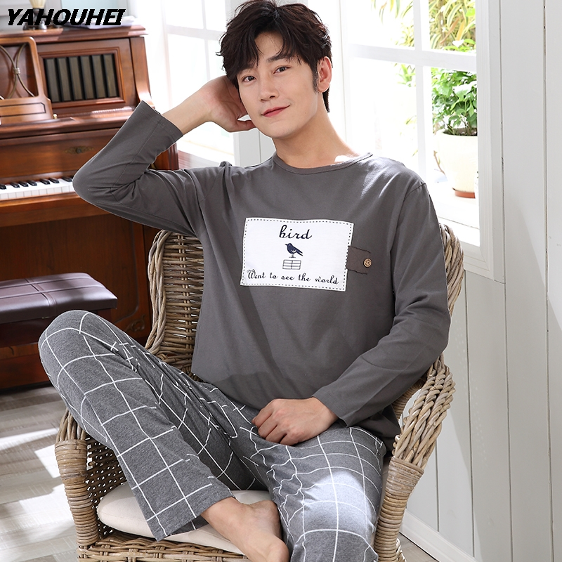 Casual Striped Cotton Pajama Sets For Men 2019 Autumn Winter Long Sleeve O-neck Cartoon Pyjama Male Homewear Lounge Home Clothes