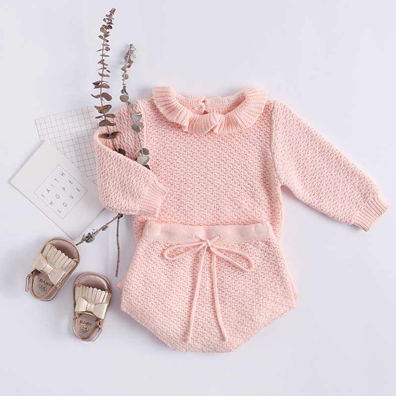 2019 Autumn Pink Knitted Suits Baby Kids Clothes Sets Sweater Girls Sets Ruffles Long Sleeve Sweater+PP Short 2Pcs Kids Suits