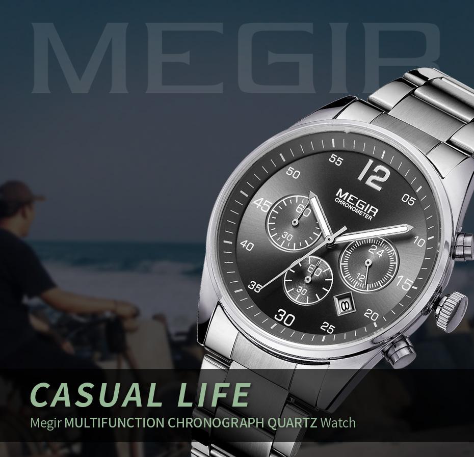 Topdudes.com - MEGIR Military Fashion Chronograph Business Stainless Steel Quartz Watch