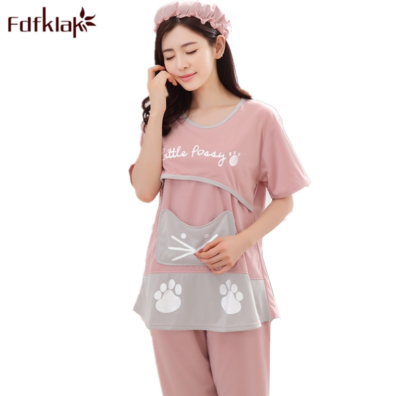 Fdfklak M-3XL Large Size Feeding Clothes Nursing Pyjama Pregnant Pajamas Summer Breastfeeding Pyjamas Sleepwear Sets F141