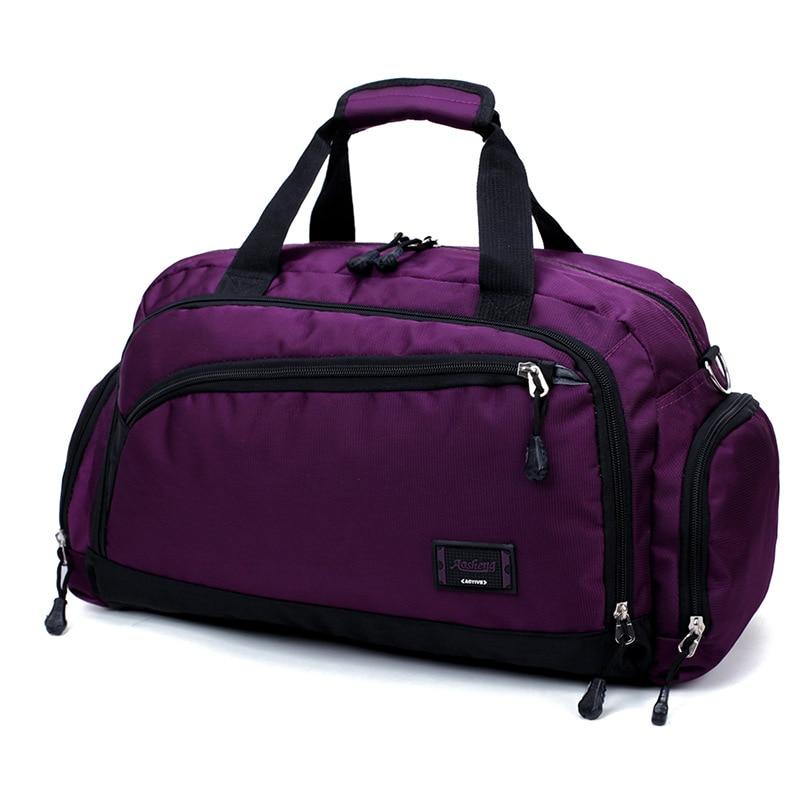 Лидер продаж, водонепроницаемая нейлоновая сумка для путешествий, Мужская модная сумка для переноски на выходные, винтажные повседневные спортивные сумки на плечо, женская сумка для сна - Цвет: purple