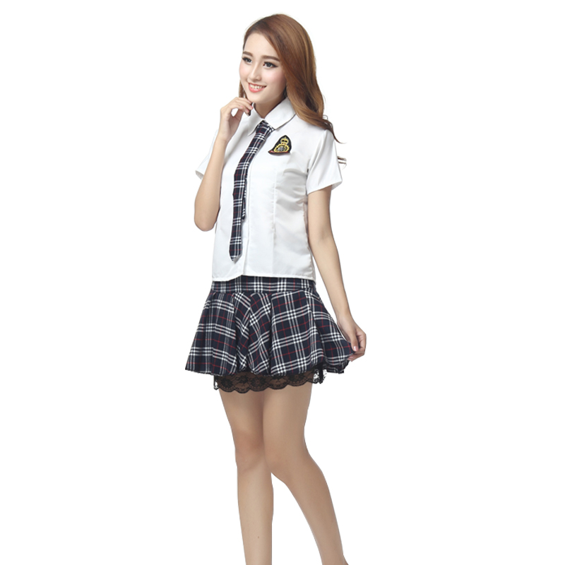 Girls Japanese School Uniform Red/B Sets Shirt Skirt With Tie Badge Suit Short Sleeves High School Outfit U016