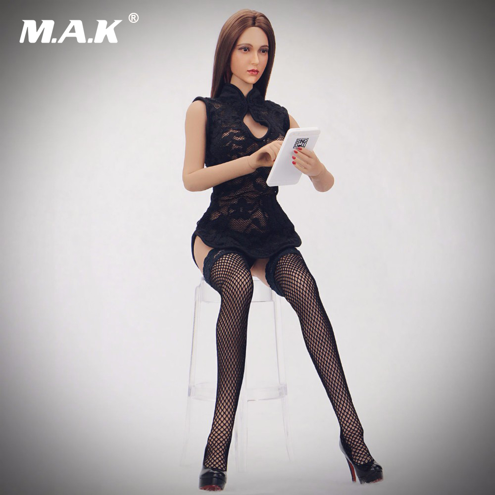 1/6 Scale Black Female Cheongsam Clothing Sexy Lace Woman Dress Suit Model Toys For 12 Female Action Figures Collections