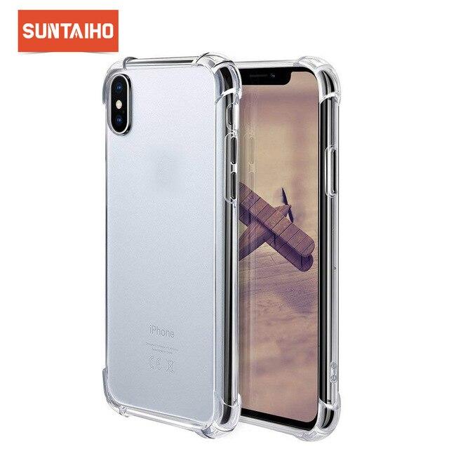 Suntaiho super à prova de choque claro caso macio para o iphone xs max 6 s 7 8 plus 6plus 6splus silicone telefone celular de luxo capa traseira