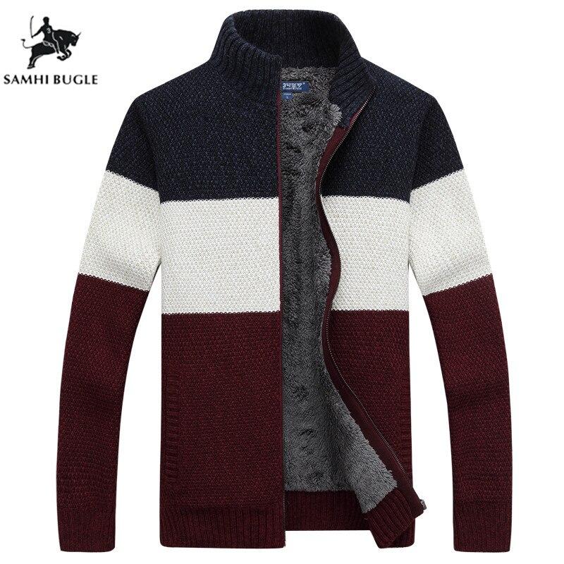 SAMHI BUGLE ยี่ห้อเสื้อผ้าฤดูหนาวเสื้อกันหนาวผู้ชายลาย Zipper Warm Outwear แจ็คเก็ตผ้าขนสัตว์เสื้อผู้ชาย-ใน คาร์ดิแกน จาก เสื้อผ้าผู้ชาย บน AliExpress - 11.11_สิบเอ็ด สิบเอ็ดวันคนโสด 1