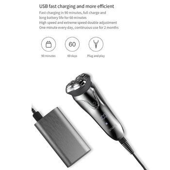 Xiaomi Mi Soocas Tan Blanca Afeitadora Eléctrica Lavable USB Recargable 3D Smart Control Máquina De Afeitar Recortadora De Barba Para Hombres