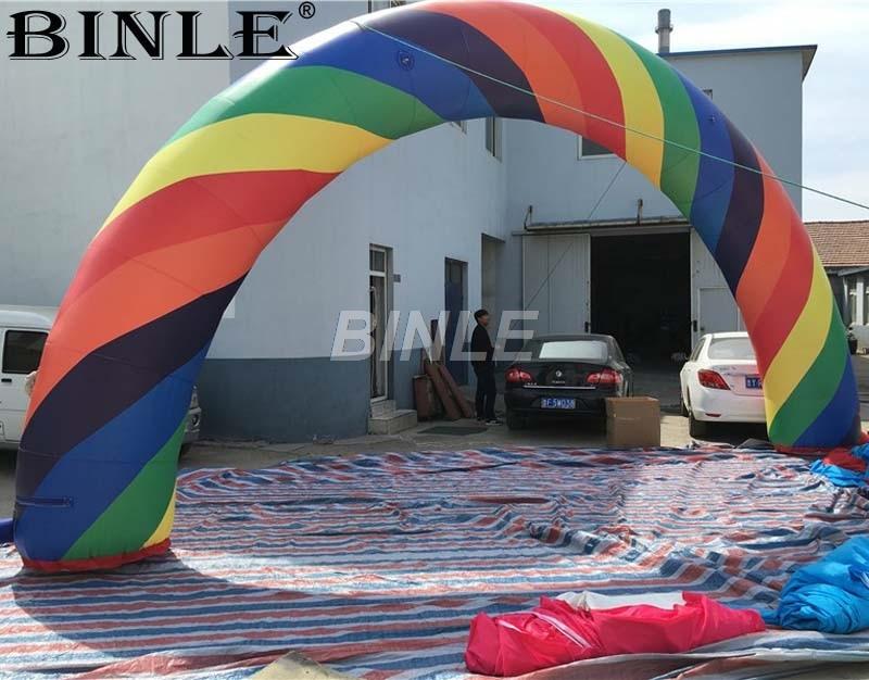 Offre spéciale 8 m 10 m 12 m énorme arc-en-ciel coloré arc-en-ciel gonflable arche d'entrée pour la décoration de fête d'événement de mariage