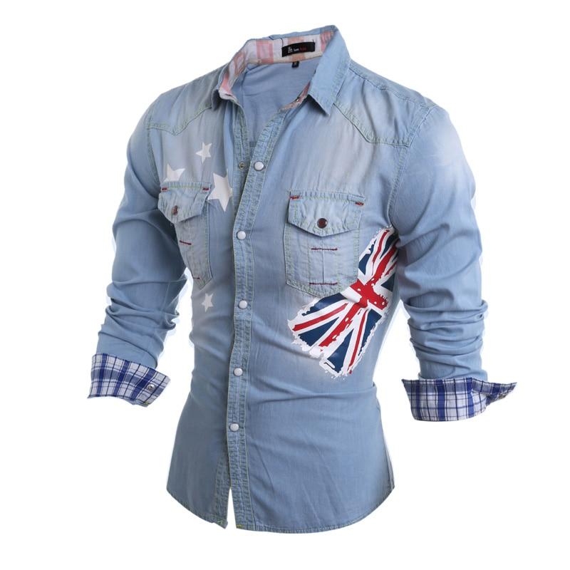 2016 men 39 s long sleeve slim fashion denim starts print for Long sleeve cooling mens shirts