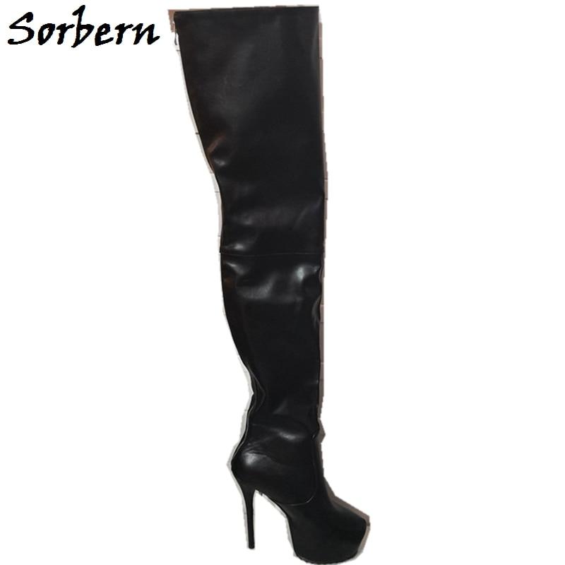 Sorbern Plate 2019 Solide Couleur Zipper Sur forme Femmes Noir À Stilettos Personnalisée Le Hauts Genou Talons Chaussures Bottes Mode Hiver AArwH