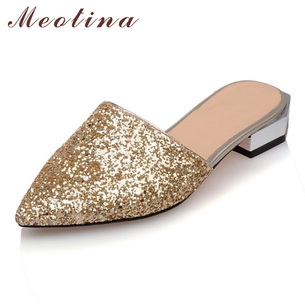 Meotina Women Shoes Mules Shoes Pointed Toe Glitter Summer Lady Shoes Chunky Low Heels Ladies Pumps Big Size 43 Chaussure Femme peacock crystals slingbacks 8cm chunky heels open toe summer shoe sandals chaussure femme de marque chaussure femme talon ouvert