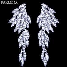 Горячая Распродажа серьги капли с кристаллами в форме перьев