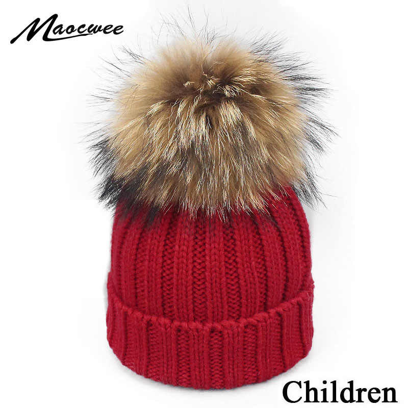 fc8bc827 Girl Boy Pom Pom Beanie Warm Knitted Skullies Kids Fur Pom pom Hats Children  Real Raccoon