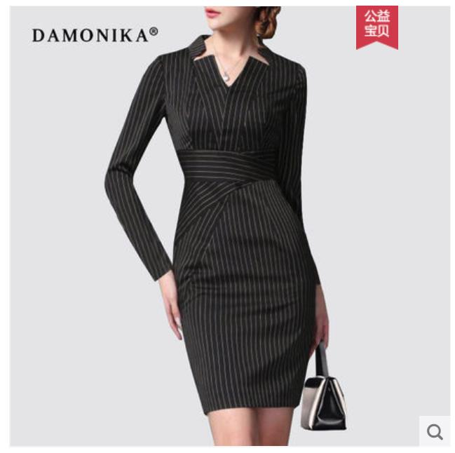 Europe station spring and autumn dress fashion OL slim middle long style 2018 new high end