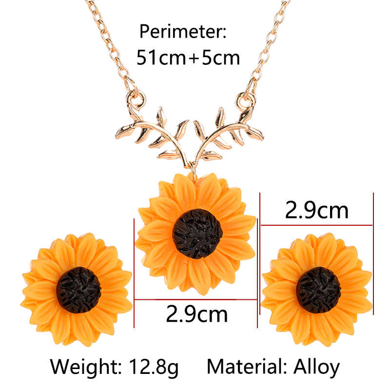 Yellow Sunflower Golden Chain Necklace Stud Earrings Jewelry Sets for Women