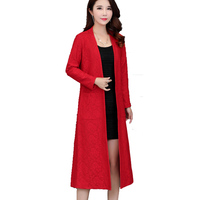 Brieuces Spring and autumn new women's lace jacket woman loose trench coat Long paragraph cardigan lace coat