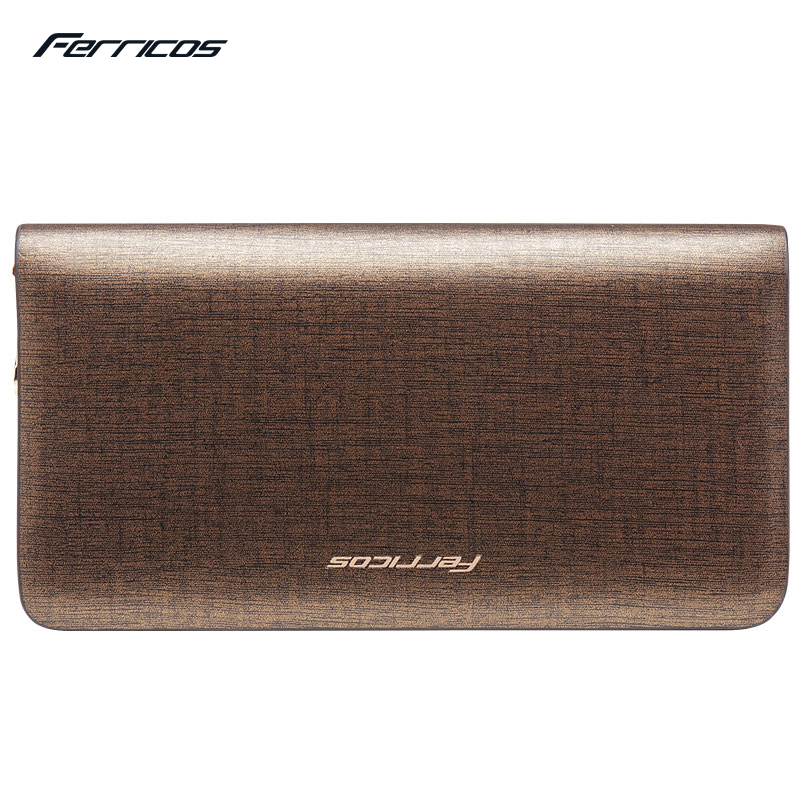 Ferricos New fashion Men wallet genuine leather purse and handbags for male luxury brand golden zipper men clutch free shipping  new fashion men wallet pu leather purse handbags for male luxury brand black no zipper men clutches free shipping card holder