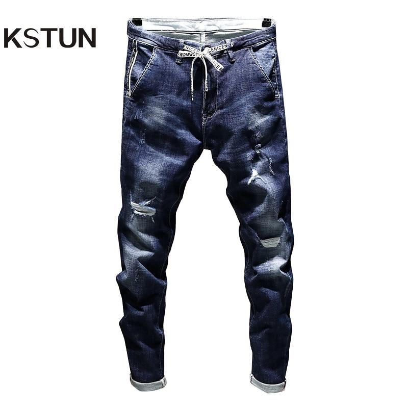 KSTUN New Arrivals Jeans Men's Stretch Biker Ripped Pants Blue Drawstring Slim Fit Tapered Torn Distressed Boys Student Joggers