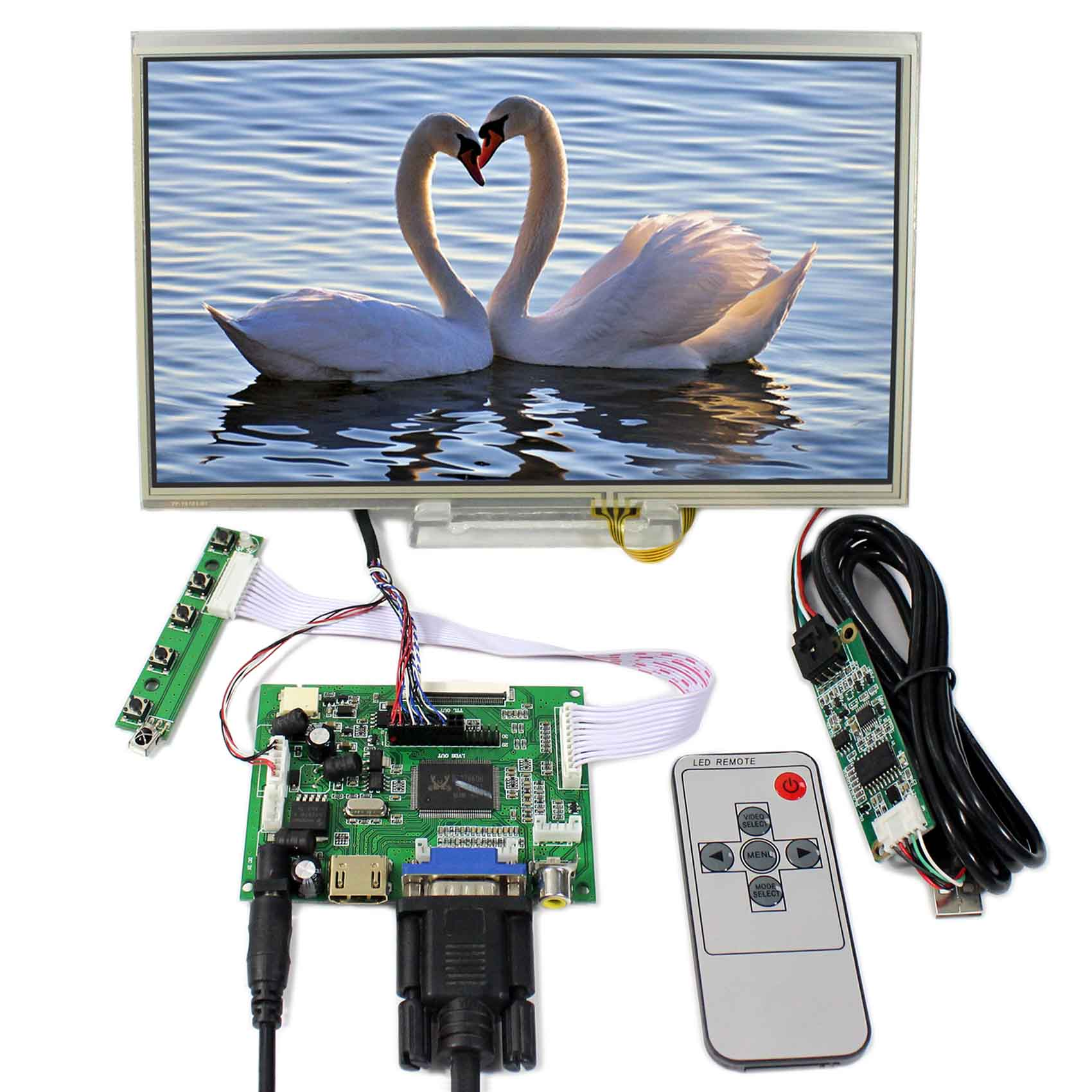 HDMI VGA 2AV LCD Controller Board+10.1inch B101AW03 1024x600 LCD Screen With Touch Panel 8inch zj080na 08a 1024x600 lcd screen vga 2av reversing lcd controller board kyv n2 v1