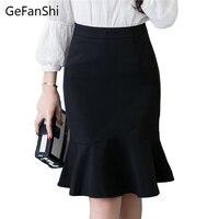 S 5XL Women Pencil Skirt Fashion Ol Slim Bodycon Skirt Business Wear Ruffles Hem Mermaid Style