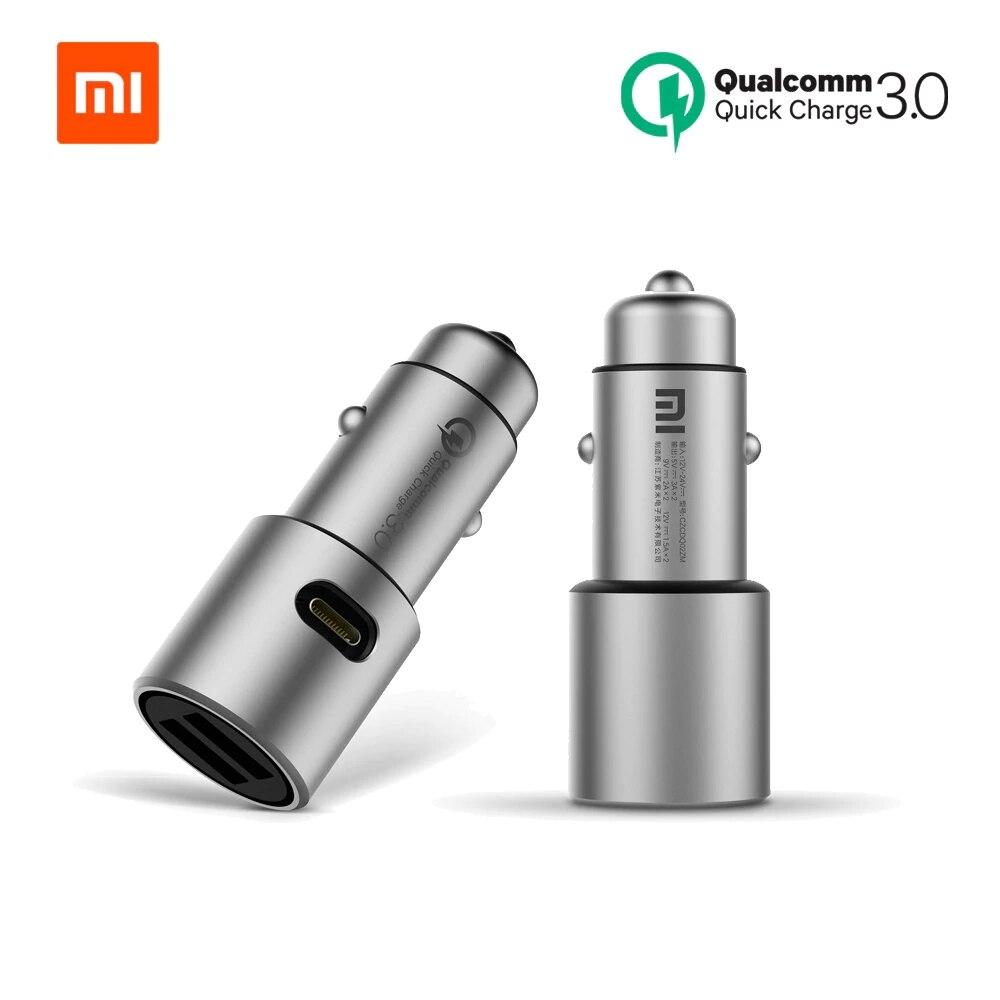 Chargeur de voiture d'origine Xiao mi Charge rapide 18 W QC 3.0 double USB Max 36 W 5 V/3A 9 V 2A métal pour iPhone Samsung Huawei oppo vivo