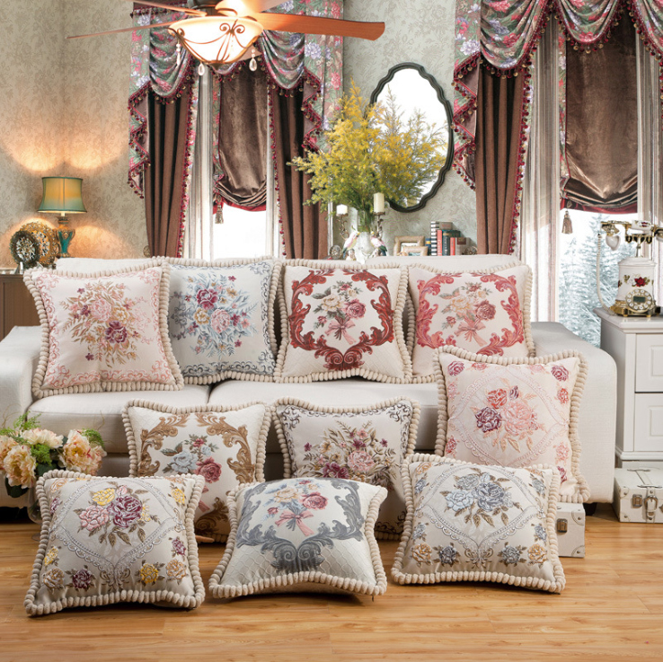 European Style Flowers Rose Embroidery Decorative Throw Pillow Case / Vintage Christmas Gift Store Home Car Sofa Cushion Covers