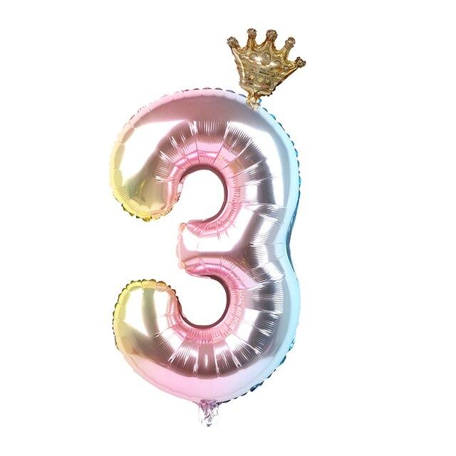 1 Juego de globos de papel de aluminio de 30 pulgadas 1 2 3 4 5 6 años de edad chico niñas corona globo de feliz cumpleaños decoración de ducha de bebé suministros