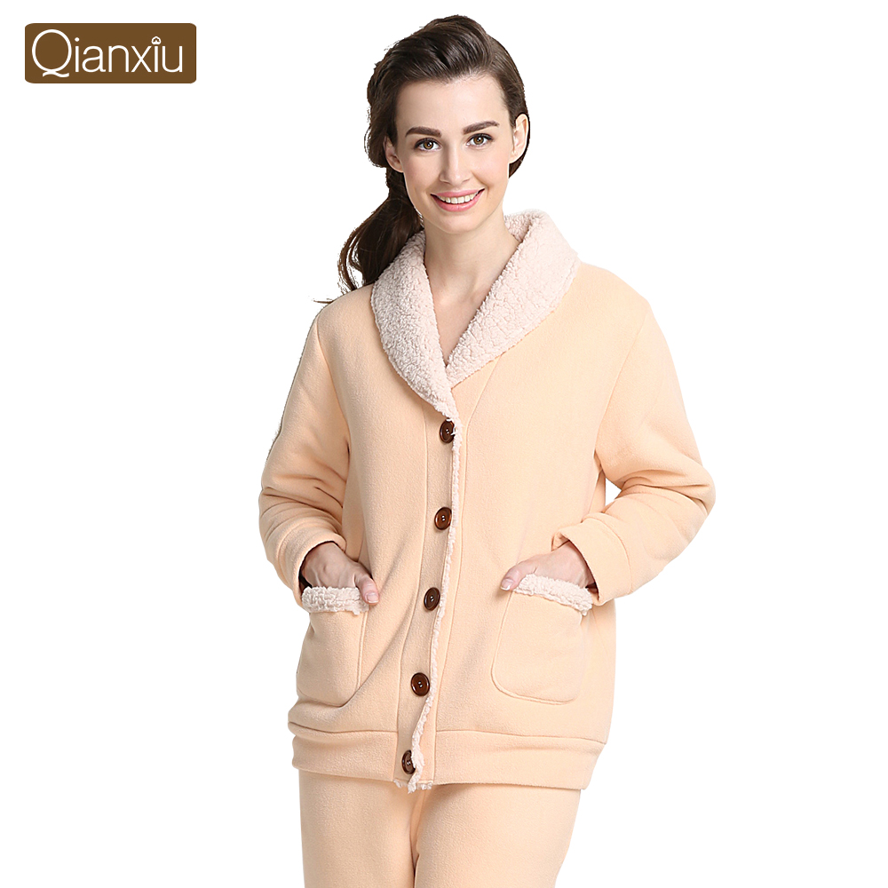 fbd6bae358 Qianxiu Brand Pajams Fashion Turn down Collar Pajama Set for Women and Men  Plus size Thicken Lounge Wear-in Pajama Sets from Women s Clothing    Accessories