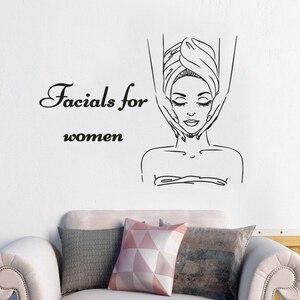 Уход за кожей центр настенные наклейки для лица для женщин логотип стикер на стену s Spa декор для салона красоты массаж тела для девочек стик...