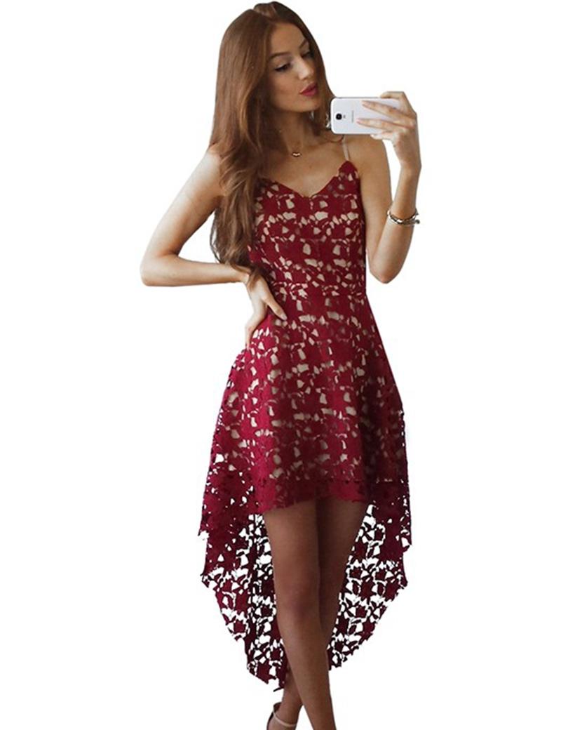 High Low Prom Dresses White/Burgundy Lace V Neck Spaghetti ...