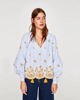 2017 women's hot sale fashion blouses floral embroidery stripes pattern lady shirts lantern sleeve boho blouses chic top shirt