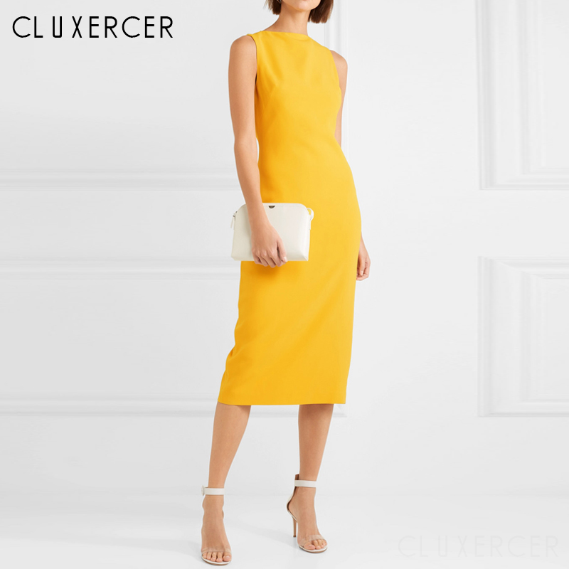 2019 New Arrival Summer Sleeveless Elegant Office Lady Dress Sheath Fitted Bodycon Business Pencil Dress Vestidos