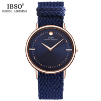 2018 IBSO Mens Watches Relogio Masculino Top Brand Luxury 7MM Ultra Thin Quartz Watch Men Blue