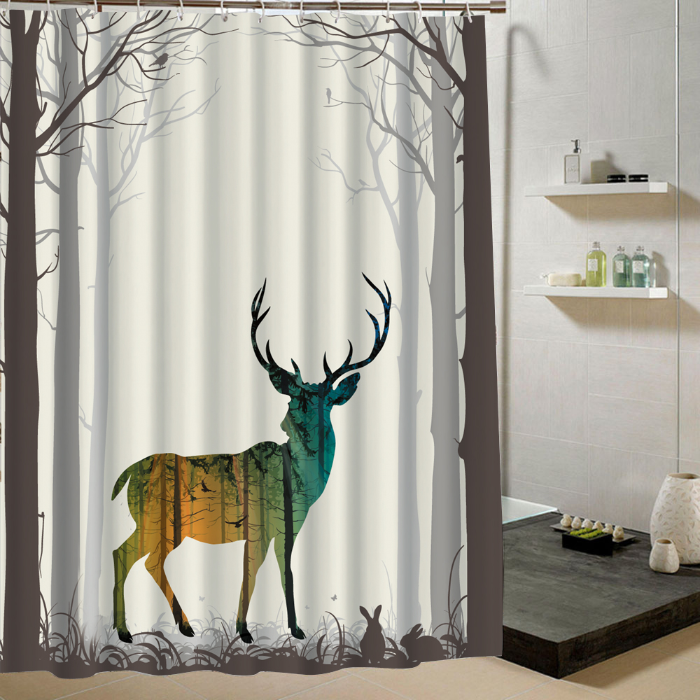 Deer Shower Curtain Forest Fabric 3d Print Animal Curtain for <font><b>Kids</b></font> Bathroom Fashion Bath Decor