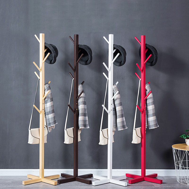 8 Hooks Solid wood simple fall coat racks simple clothes hanger fashion clothes rack living room accommodating bedroom hangers coatrack landing racks shoe rack bedroom clothes rack multi function dryer