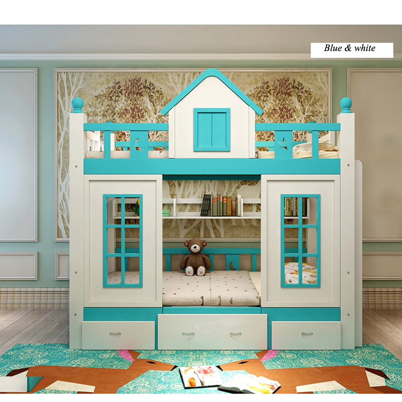 2  0128TB006 Fashionable kids bed room furnishings princess fortress with slide storages cupboard stairs double kids mattress HTB1BpNGo3vD8KJjy0Flq6ygBFXaj