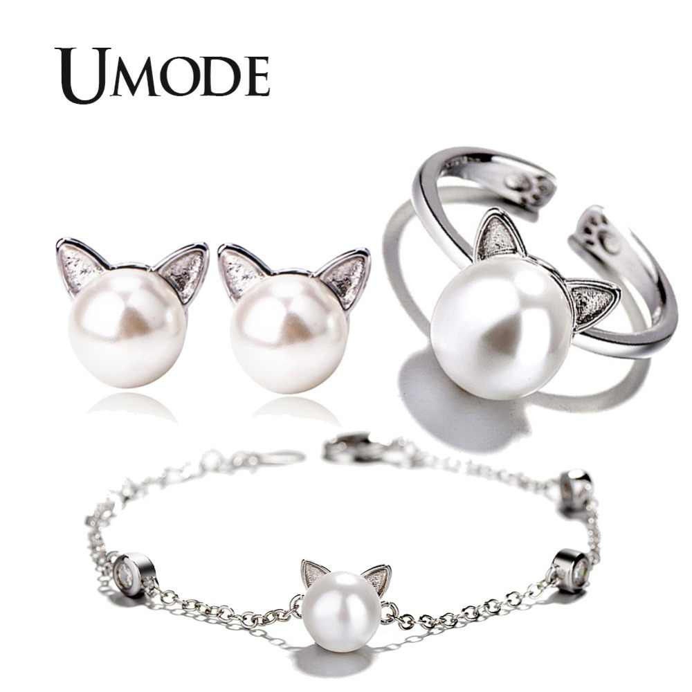 UMODE Cute White Pearl Cat Ear White Gold Jewelry Sets for Women Bracelet and Earrings and Open Cuff Ring Set Link Chain AUS0054