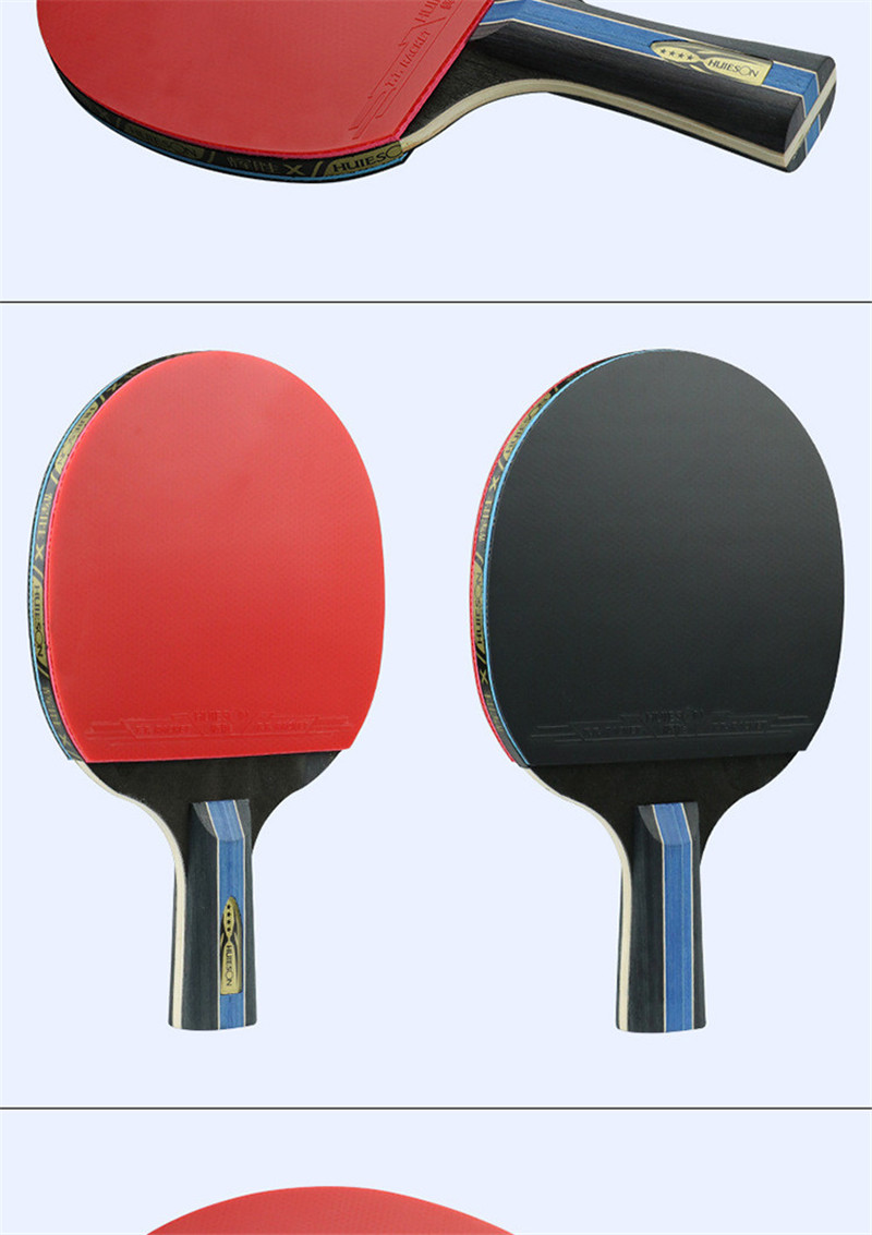 Huieson 7 Ply Pure Wood Table Tennis Racket Double Face Pimples-in Sticky RubberPong Paddle Bat for New Learners (7)