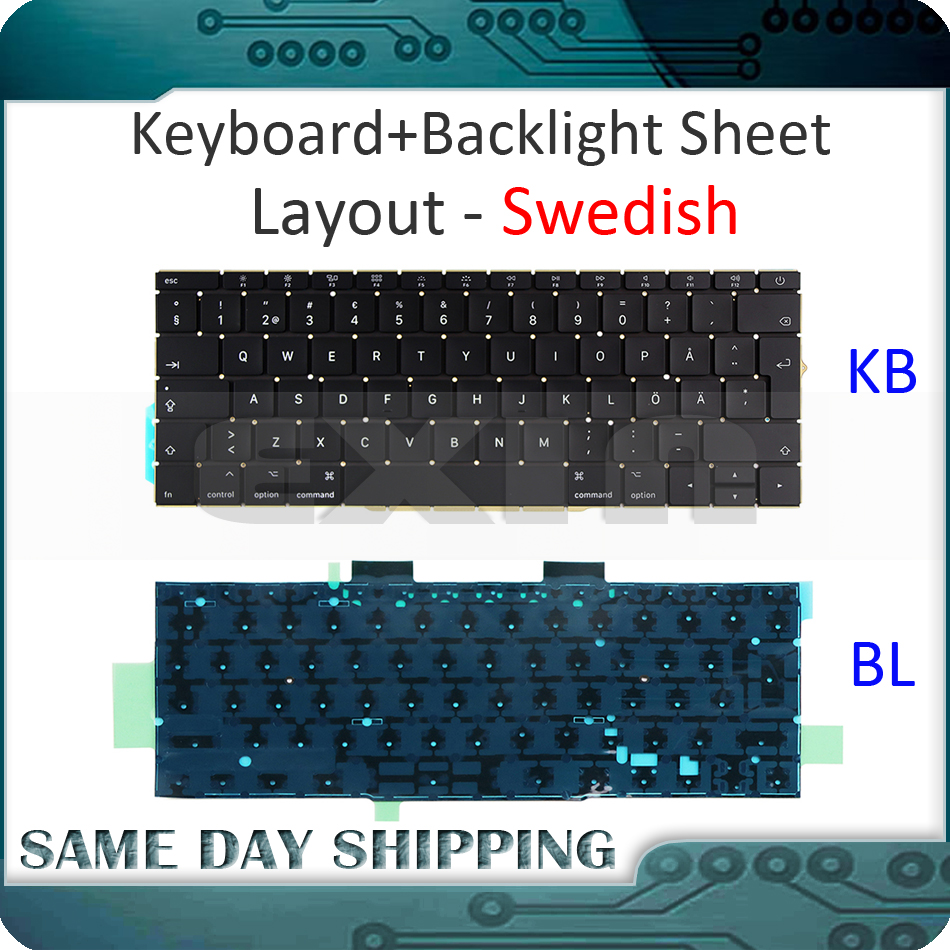 все цены на Genuine A1708 Sweden Swedish Keyboard for Apple Macbook Pro 13'' A1708 Keyboard With Blacklight Sweden Standard 2016 2017 Year