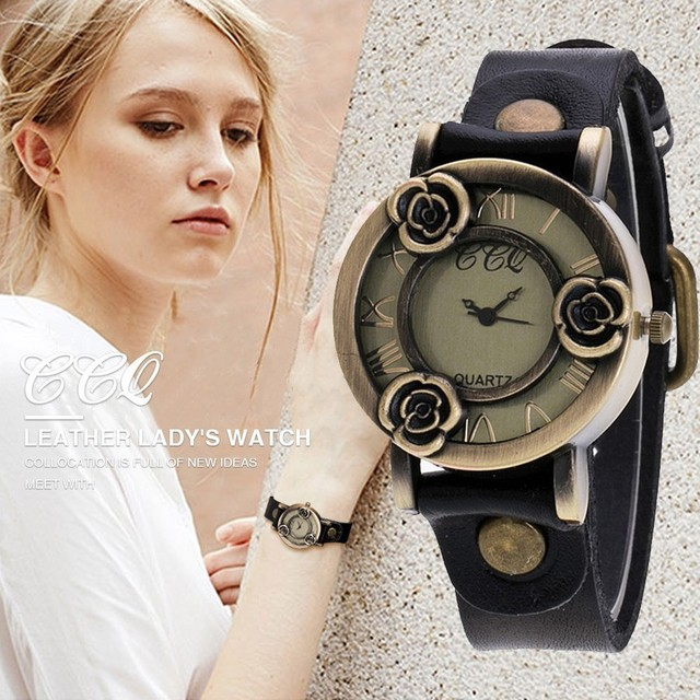 CCQ Brand Vintage Cow Leather Bracelet Women Flower Watch Casual Female Wrist Wa