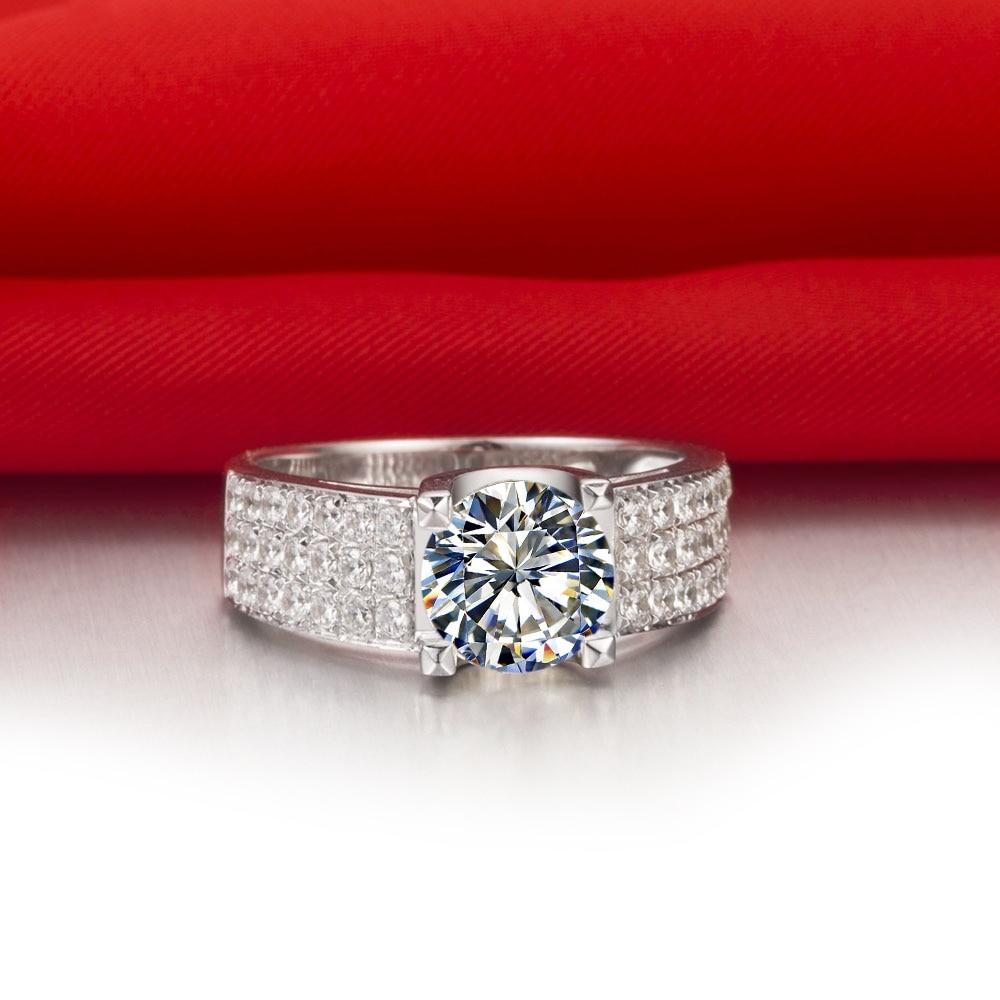 Wholesale 1ct Brand Diamond Women Wedding Ring 18k White Gold Plated