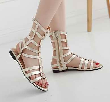 0088ddecb8ff90 Women s Sandals Summer 2016 Gladiator Flat Sandal Open Toe Cut-out Shoes  Ladies Girl Flat Sandals Fashion Sandalias Gold