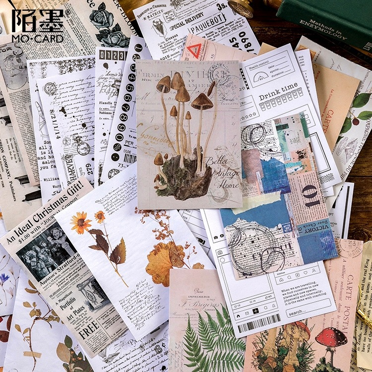 6pcs/pack Vintage Forest Post Office/Old Newspaper/Life List Hand Account Sticker Decorative Sticker DIY Diary Sticker