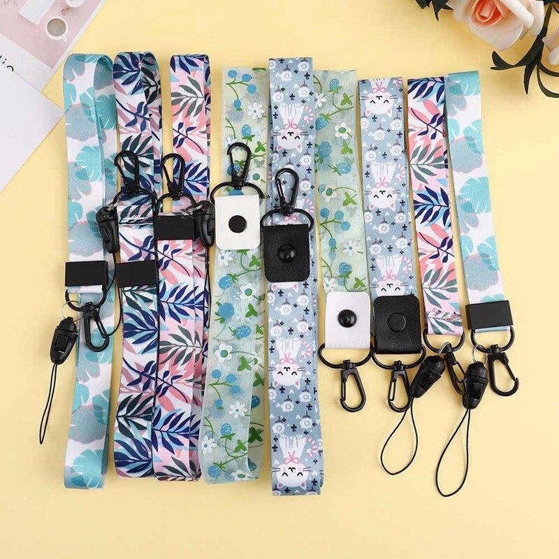 Cartoon Cute Cat Bamboo Lanyard Neck Strap For Keys ID Card Mobile Phone Straps For Huawei USB Badge Holder DIY Hang Rope