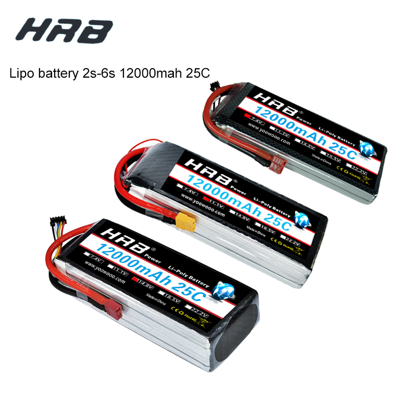 HRB RC <font><b>Lipo</b></font> <font><b>12000mAh</b></font> Battery 2S <font><b>3S</b></font> 4S 5S 6S 7.4V 11.1V 14.8V 18.5V 22.2V 25C MAX 50C T Bandage For RC Helicopter Airplane image