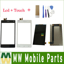 Лучшие 1PC/Lot High Quality For Fly FS452 FS 452 Seperate Touch Screen And Lcd Screen Display Black White Color with tools+tape