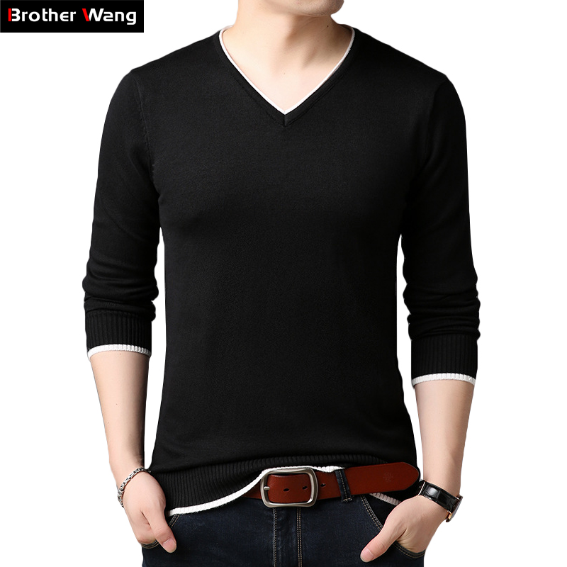 2019 Autumn New Men's Thin Sweater V-neck Casual Slim Men's Knit Sweter Contrast Collar Bottoming Sweater Brand Clothes