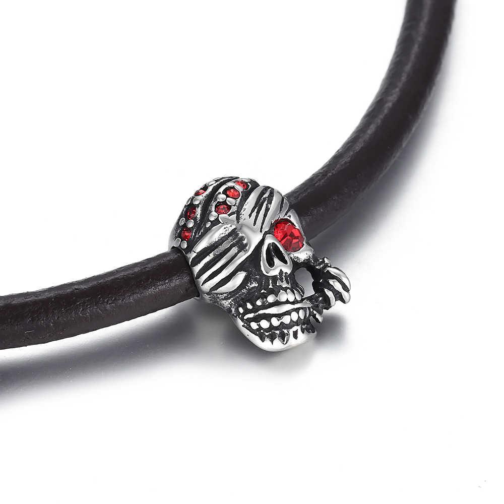 4Pcs Stainless Steel Beads Skull Spacer Large Hole 6mm Slide Charm Pendant DIY Men Bracelet Making Supplies Handmade Jewelry Findingsdings